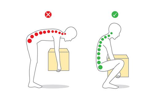 Richtige Technik beim Heben um Bandscheibenvorfall zu verhindern
