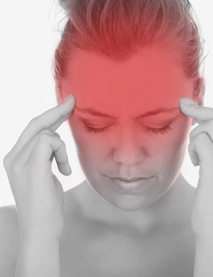 Schmerzen am Kopf und Schläfen bei Spannungskopfschmerzen